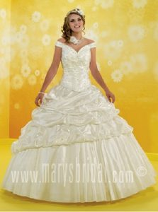 Simple Off the Shoulder Ivory Embroidered Dresses for Quince with Pick-ups