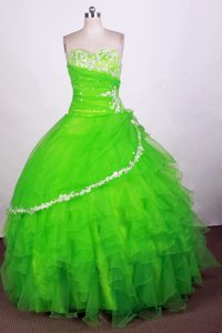 Svelte Green Beaded Dresses for Quinces with Ruffles in Rossosh