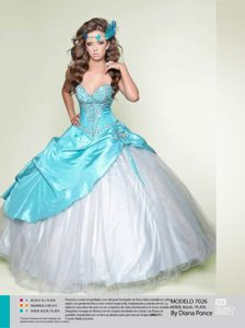 White and Blue Quinceanera Dresses with Beading
