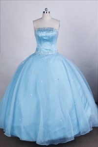 Aqua Blue Dreamy Quinceanera Gown with Beading in Nowogrodziec