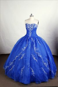 Perfect Royal Blue Quinceanera Gown with Embroidery and Appliques