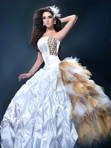 Newest Lesnoy White Gown for Quinces with Ruffles and Pick-ups