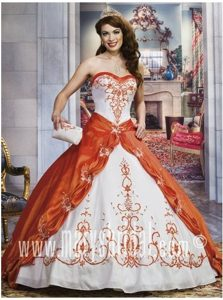 Stylish Orange and White Dresses for 15 with Embroidery in Orsk