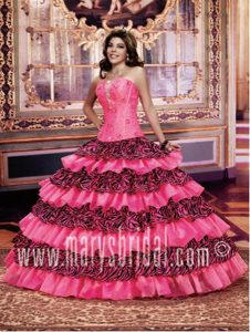 Special Tobolsk Hot Pink Zebra Dress for Quince with Ruffle-layers