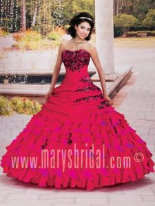 Unique Red Sweet 16 Dresses with Appliques and Ruffles in Glazov