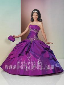 Princess Purple Sweet Sixteen Dress with Embroidery and Pick-ups