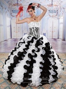 Wholesale Zebra Black and White Dresses for a Quince with Ruffles