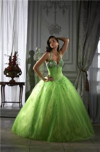 Dreamy Spring Green Halter Top Sweet 16 Dresses with Beading in Armavir