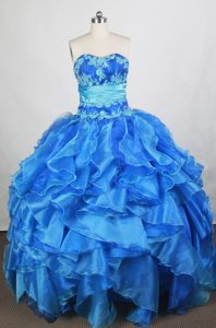 Low Price Lace-up Blue Dress for Quinces with Ruffles in Salavat