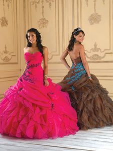 Best Hot Pink Organza Quinceanera Dress in Elk California with Ruffles and Appliques