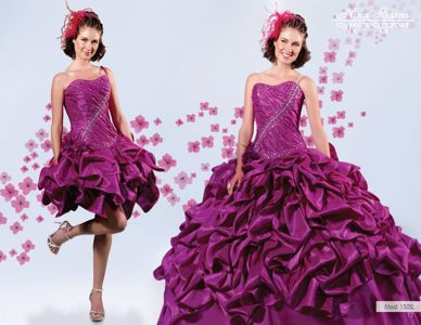 Svelte Detachable Purple Dress for Quince with Pick-ups in Chita
