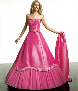 Charming Kopeysk Hot Pink Beaded Dress for Quince with Bow