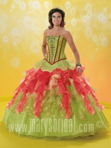 Classy Ruffled and Beaded Sweet Sixteen Dresses in Green and Red