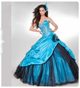Blue Vestidos De Quinceanera with Beading and Flowers
