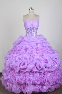 Best Beaded Lavender Organza Dress for Quince with Pick-ups in Lantana Florida