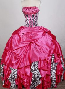 Gorgeous Red Dresses of 15 with Ruffles and Beading in Taffeta and Zebra