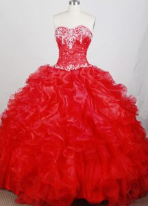 Classical Red Quinceanera Dresses with Ruffles and Appliques for Cheap