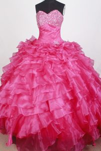 Ruffles and Beading Decorated Organza Sweet Fifteen Dresses in Fuchsia