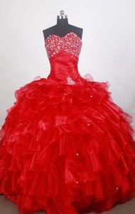 Romantic Ruffled and Beaded Red Sweet 16 Party Dresses for Wholesale