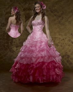 Custom Made Appliqued Ruffled Pink Organza Sweet Sixteen Dress in Kendall Florida