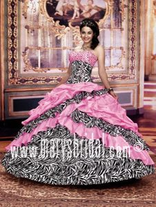 Newest Pink Zebra Printed Dress for Quinceaneras with Pick-ups