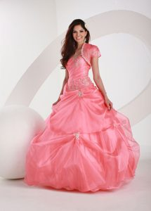 Beautiful College Plaza FL One Shoulder Zipper-up Pink Quince Dress with Appliques