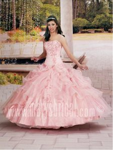 Formal Lake Panasoffkee Florida Embroidered Ruffled Quinceanera Dress in Pink