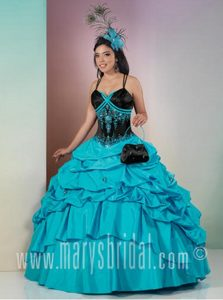 Belleview FL Crisscross Back Embroidered Dress for Quince in Black and Teal