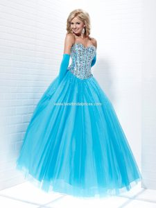 Shimmery Aqua Blue Quinceanera Dresses with Beading and Sequins