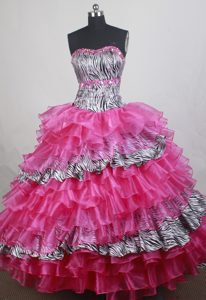 Dashing Organza and Zebra Colorful Quinceanera Gown with Ruffles