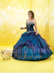 Taffeta Blue Sweet Sixteen Dresses with Appliques and Embroidery
